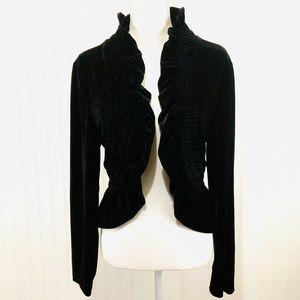 Gothic Steampunk velvet ruffle shrug blazer XL